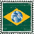 Brazil Flag Like Stamp In Grunge Style by Michal Boubin