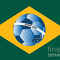 Brazil Flag With Ball by Michal Boubin