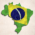 Brazil Map Art With Flag Design by World Art Prints And Designs