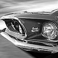Breaking The Sound Barrier - Mach 1 428 Cobra Jet Mustang In Black And White by Gill Billington
