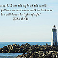 Breakwater Lighthouse Santa Cruz With Verse  by Barbara Snyder