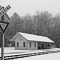 Brecksville Station Snowfall Black And White by Clint Buhler