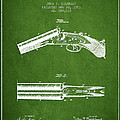 Breech Loading Gun Patent Drawing From 1883 - Green by Aged Pixel