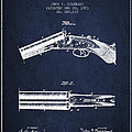 Breech Loading Gun Patent Drawing From 1883 - Navy Blue by Aged Pixel