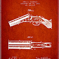 Breech Loading Gun Patent Drawing From 1883 - Red by Aged Pixel