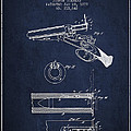 Breech Loading Shotgun Patent Drawing From 1879 - Navy Blue by Aged Pixel