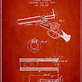 Breech Loading Shotgun Patent Drawing From 1879 - Red by Aged Pixel