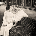 Bride And Daughter Kiss In Jackson Square New Orleans by Kathleen K Parker