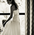 Bride At The Balcony II. Black And White by Jenny Rainbow