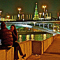 Bridge Over River Near The Kremlin At Night In Moscow-russia by Ruth Hager