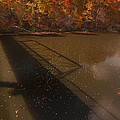 Bridge Shadow In Autumn On The  Duck River Tennessee Fine Art Prints As Gift For The Holidays  by Jerry Cowart