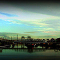 Bridge With White Clouds Vignette by Miriam Danar