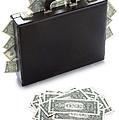 Briefcase Stuffed With Dollar Bills by Lee Avison