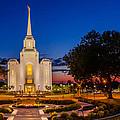Brigham City Temple Twilight 1 by La Rae  Roberts