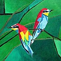 Brighly Colored European Bee-eaters by Taiche Acrylic Art