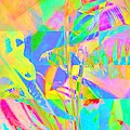 Bright Abstracted Banana Leaf - Square by Lyn Voytershark