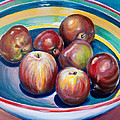 Red Apples In Striped Bowl by Jennifer Lycke