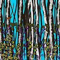 Bright Blue And Birch by Nancy Long