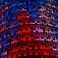 Bright Blue Red And Pink Illumination - Agbar Tower Barcelona by Georgia Mizuleva