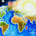 Bright Blue World Map In Watercolor With Sunshine And Moon  by Kip DeVore