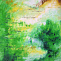 Bright Green Modern Abstract Garden Spirits By Chakramoon by Belinda Capol