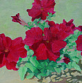 Red Flowers Art Brilliant Petunias Bright Floral  by K Joann Russell
