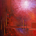 bright red modern abstract IN TOUCH WITH YOUR SOUL by Chakramoon by Belinda Capol