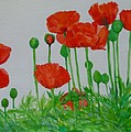 Red Poppies Colorful Flowers Original Art Painting Floral Garden Decor Artist K Joann Russell by K Joann Russell