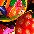 Brightly Painted Bowls At A Market - Mexico - Travel Photography By David Perry Lawrence by David Perry Lawrence