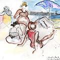 Brighton Beach On A Windy Day by Carolyn Weltman