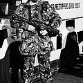 British Army Soldier With Mp5 On Crumlin Road At Ardoyne Shops Belfast 12th July by Joe Fox