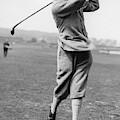 British Golfer Sir Ernest Holderness Swinging by Artist Unknown