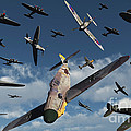 British Supermarine Spitfires Attacking by Mark Stevenson
