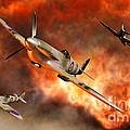British Supermarine Spitfires Bursting by Mark Stevenson