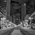 Broad Street At Night In Black And White by Bill Cannon
