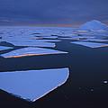 Broken Fast Ice Under Midnight Sun by Tui De Roy