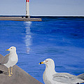 Bronte Lighthouse Gulls In Oil by Laurel Best