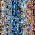Bronze Blue Wall by Stephanie Grant