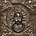 Bronze Lion Head And Ring On The Main Door Of The Town Hall In Dubrovnik Sepia by Weston Westmoreland