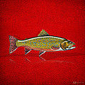 Brook Trout On Red Leather by Serge Averbukh