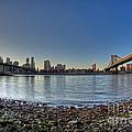 Brooklyn And Manhattan Bridge Fisheye by Michael Ver Sprill
