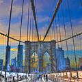 Brooklyn Bridge At Dusk by Randy Aveille
