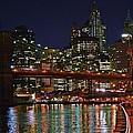 Brooklyn Bridge At Night by Vidal Ortiz