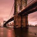 Brooklyn Bridge - Red Morning by Gary Heller