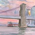 Brooklyn Bridge Sunset 2013 by Walter Lynn Mosley