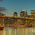 Brooklyn Bridge Twilight Panoramic by Clarence Holmes