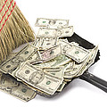 Broom Sweeping Up American Currency by Keith Webber Jr
