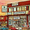 Brown Derby Van Horne Shopping Center Clay's Pharmacy Montreal Paintings City Scenes Carole Spandau by Carole Spandau