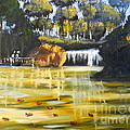 Brown Ducks Near The Waterfall by Pamela  Meredith