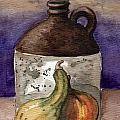 Brown Jug And Gourds by Linda L Martin